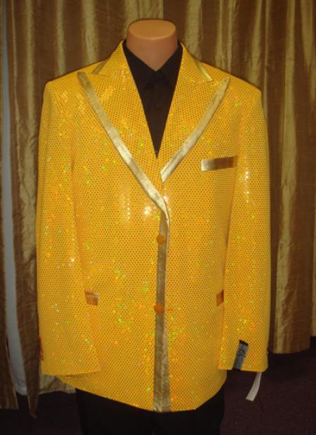Sku Es13 Men S Satin Shiny Sequin Jacket Blazer In Gold