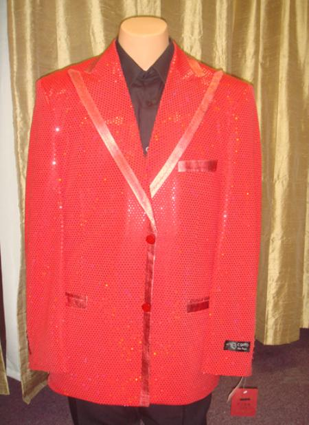 SKU#RED13 Mens Satin Shiny Sequin Jacket/Blazer in Red $189