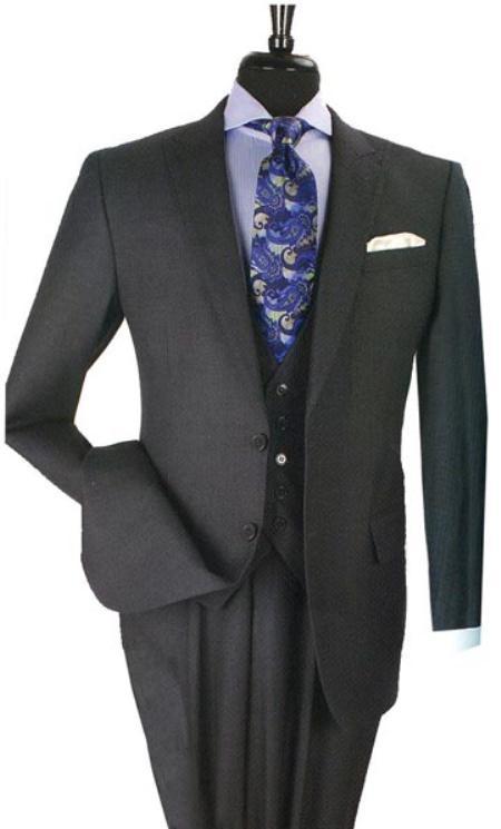 34s suit, 100% Wool Business Suit2 ButtonsFashion VestFlat Front Pants, 1 Wool Business Suit with 2 Buttons Charcoal Blue