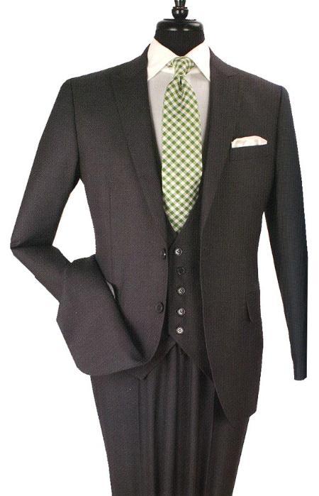 34s suit, 100% Wool Business Suit2 ButtonsFashion VestFlat Front Pants, 1 Wool Business Suit with 2 Buttons Charcoal