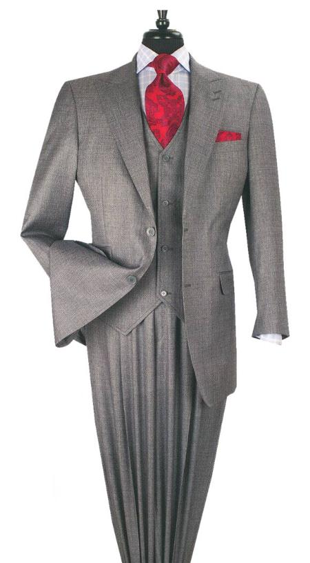 1940s Men's Suit History and Styling Tips 3 PC 2 Button Wool Blend Fashion Suit with Ticket Pocket Grey $165.00 AT vintagedancer.com