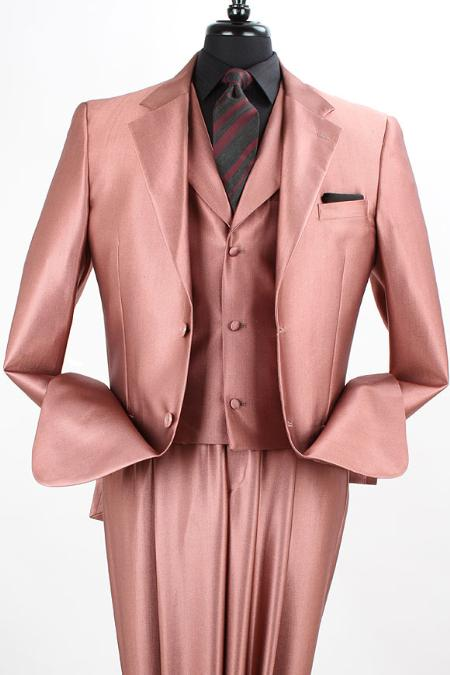 SKU#EW21 3PC 2 Button Sharkskin Suit Lt Burg/Rust $165