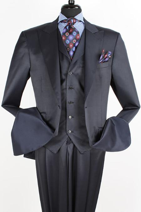 SKU#QM12 3PC 2 Button Suit with Pic Stitch, Ticket Pocket Black $165