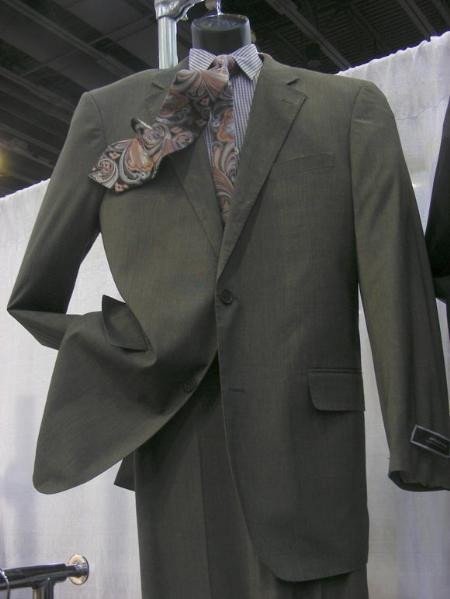 SKU#QZ19 2 PC Luxurious Poly Rayon 2 Button Charcoal Suit $165
