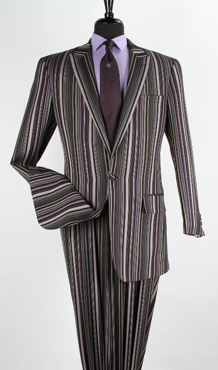 SKU#MQ891 Mens 2 Piece 100% Wool High Fashion Suit - Peak Lapels Multi Color $189
