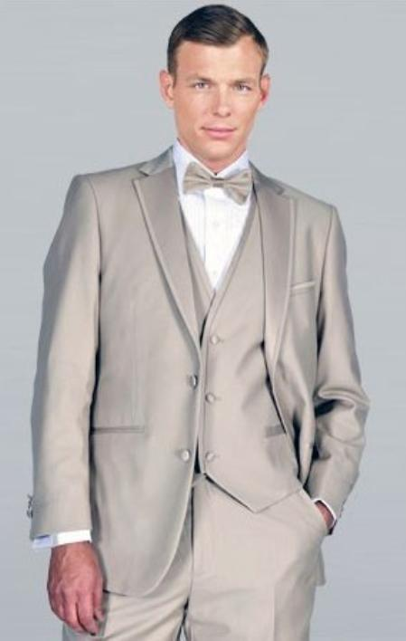 SKU#SAZ32 Beige Framed Notch Lapel with Vest Microfiber Wedding Tuxedo