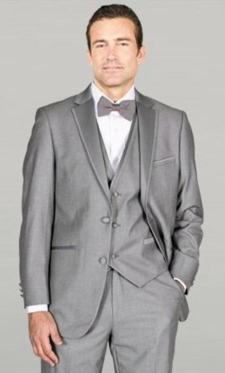 SKU#MAV24 Light Grey ~ Gray Framed Notch Lapel with Vest Microfiber Wedding Tuxedos