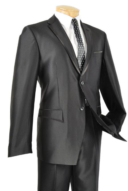SKU#MAC81 Tapered Leg Lower Rise Pants & Get Skinny Slim Fit Black Framed Lapel Two Button Prom Tuxedo $165
