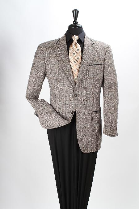 SKU#NAV81 Mens 100% Wool Brown Sport Coat - Black Trim $125