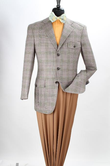 SKU#OQS22 Mens 100% Wool Purple Green Grid Sport Coat - British Plaid $125