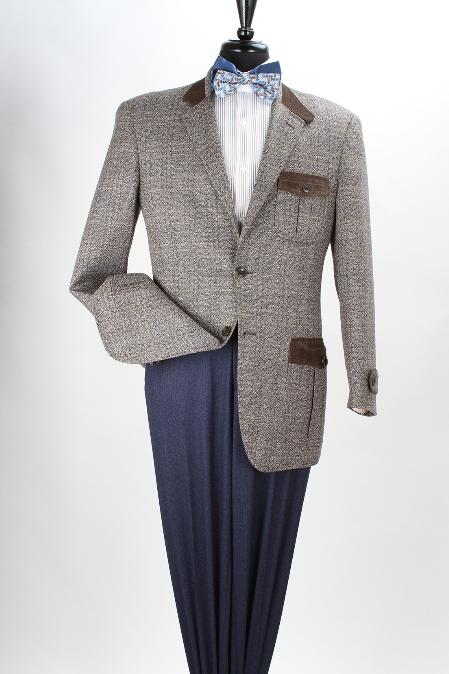 SKU#SAQ24 Mens 100% Wool Brown Sport Coat - Fancy Trim $125