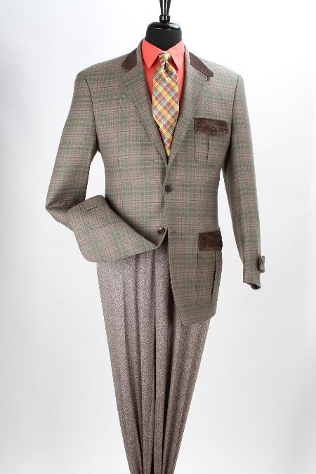 SKU#MAZ13 Mens 100% Wool Purple Green Grid Sport Coat - Fancy Trim in British Plaid $125