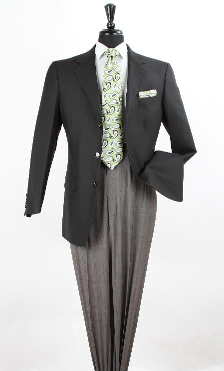 SKU#NAM12 Mens 100% Wool Blazer - Side Vents in Black & Navy $139