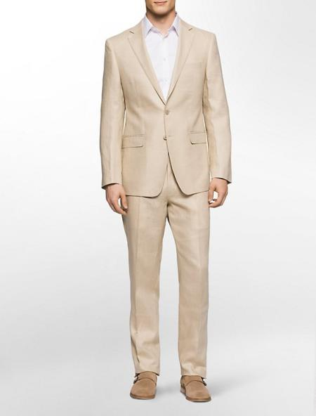 SKU#DEF67 Mens 100% Linen Suit in Natural & Off White $249