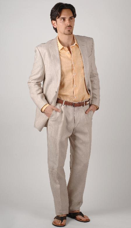 SKU#MQA13 100% Linen Suit for Beach Wedding in Natural & White Color $219