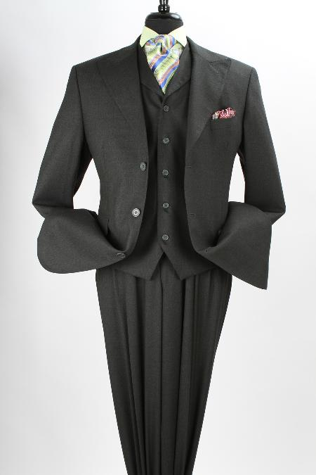SKU#FS24 Mens 3 Piece 100% Wool Fashion Olive three piece suit - Side Vents $199