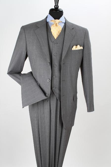 MensUSA Mens 3 Piece 100 Wool Executive Grey Stripe Suit No Vents at Sears.com