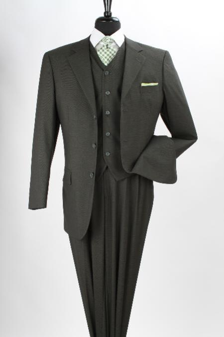 SKU#MAV32 Mens 3 Piece 100%  Poly~Rayon Soft Fabric Executive Olive Three Piece Suit $139