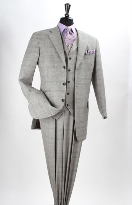 SKU#NAV2 Mens 3 Piece 100% Wool Fashion Grey/Purple Windowpane three piece suit $199