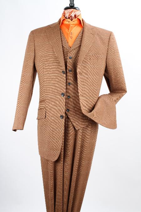 SKU#GMA23 Mens 3 Piece 100% Wool Fashion Brown Windowpane three piece suit - 3 Button Jacket $199