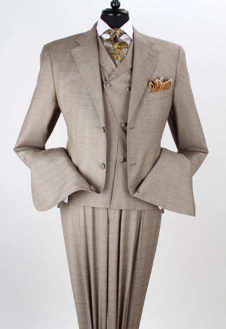 SKU#TAU91 Mens 3 Piece Wool Blend Fashion Taupe three piece suit - Double Breasted Vest $199