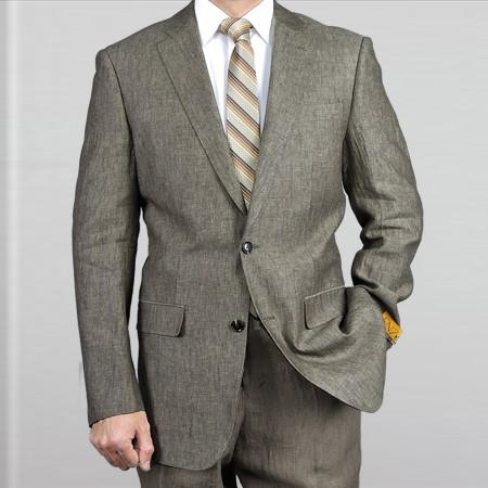 SKU#NA18 Elegant, Natural & Light Weight 2-Btn Notch Lapel Real Linen Suit Spring/Summer Grey $179