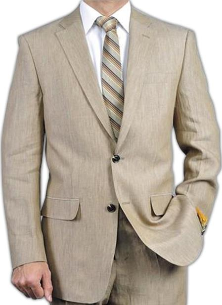 SKU#EWS3 Elegant, Natural & Light Weight 2-Btn Notch Lapel Real Linen Suit Spring/Summer Beige $279