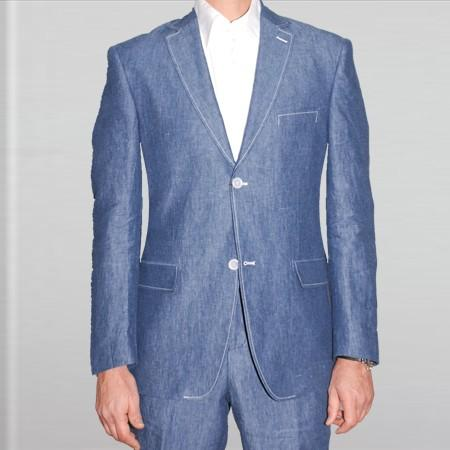 SKU#WES31 Elegant, Natural & Light Weight 2-Btn Notch Lapel Real Linen Suit Spring/Summer Denim Blue