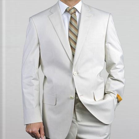 SKU#RT81 Elegant, Natural & Light Weight 2-Btn Notch Lapel Real Linen Suit Spring/Summer OffWhite