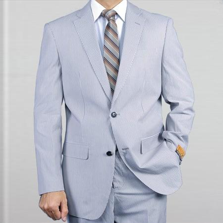 SKU#WW71 Elegant, Natural & Light Weight 2-Btn Notch Lapel Real Linen Suit Spring/Summer Blue $279