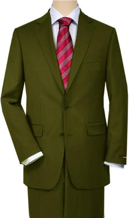 MensUSA.com Olive Green Quality Total Comfort Suit Separate Any Size Jacket and Any Size Pants(Exchange only policy) at Sears.com