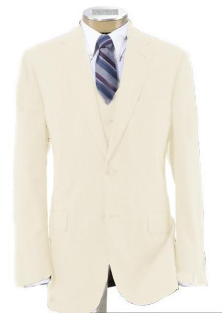SKU#BER-TZ100 Men's 2 Button Poly~Rayon Wool Feel Light Weight Soft & Cool Vested Ivory Suit 3 Piece off white Cream $199