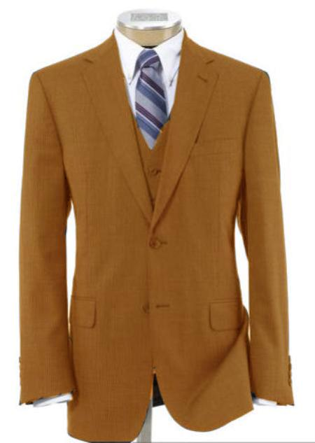 SKU#CGH82 Men's 2 Button Wool Vested Camel Suit with Pleated Trousers $175