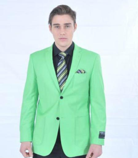 SKU#LMK82 Mens Fitted Premium Lime Green Blazer $139