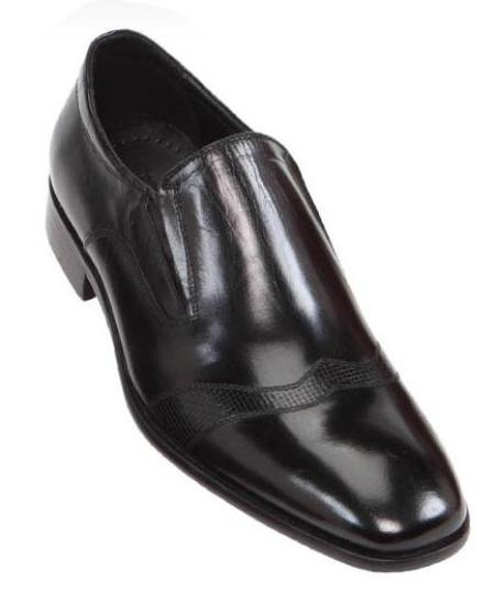 SKU#BHM12 Steven Land Mens Hand Made Leather Shoes Black $125