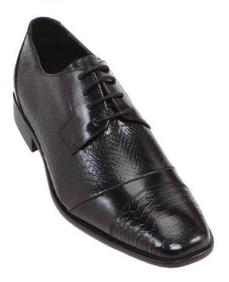 SKU#MQS12 Steven Land Mens Black  Hand Made Leather Shoes $125