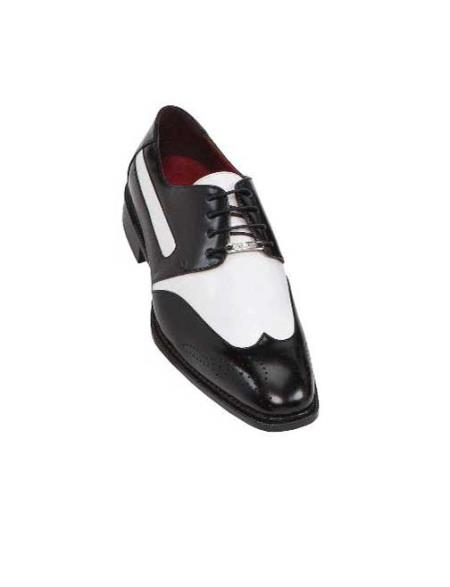 1950s Style Mens Shoes Black Mens Two Tone Dress Shoes Oxford Wingtip $99.00 AT vintagedancer.com