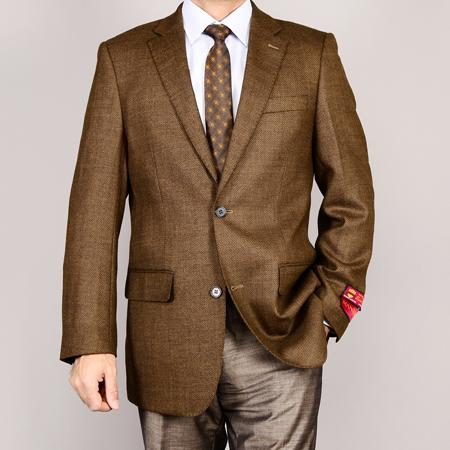 Men's Vintage Style Suits, Classic Suits Mantoni Mens Brown 2Button Wool Sport Coat $179.00 AT vintagedancer.com