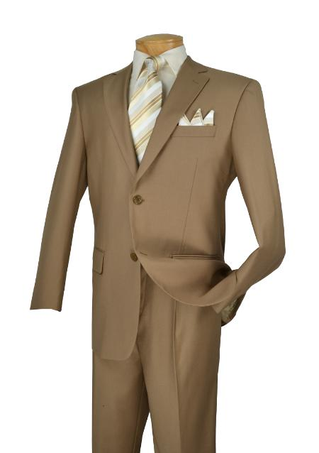 MensUSA.com Vinci Executive Pure Solid Khaki Suit Notch Collar Pleated Pants 2TR(Exchange only policy) at Sears.com