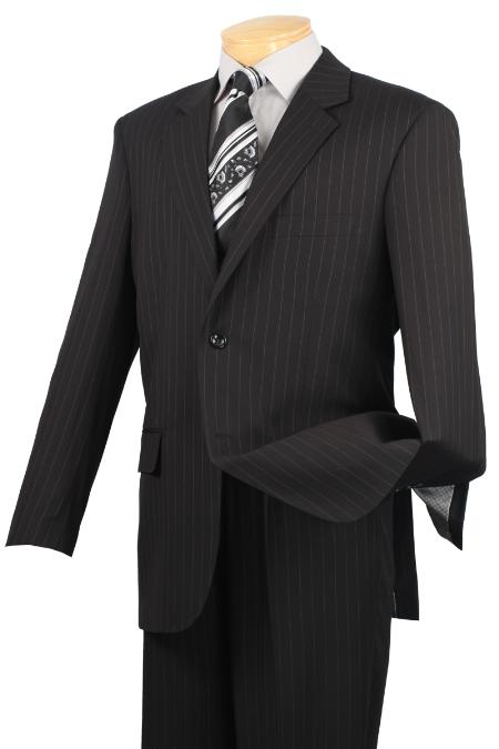 Notch Collar Pleated Pants Executive Classic Pin Stripe Black Suit 2RS16