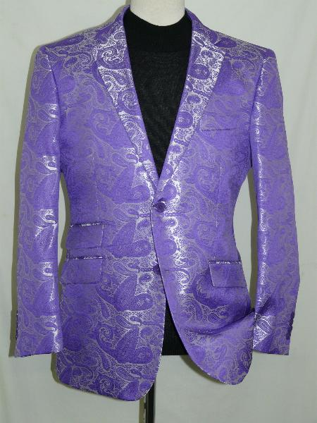 SKU#PRP611 Purple Silky Paisley Blazer Shiny Stage Sport Jacket $225
