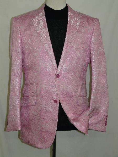 SKU#PNC72 Floral Pink Silky Paisley Blazer Shiny Stage Sports Jacket