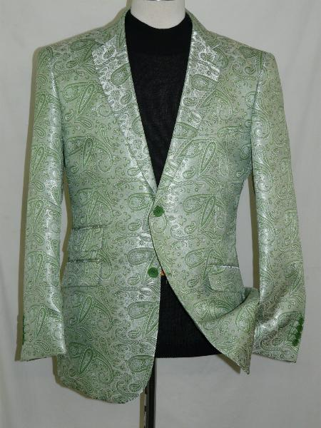 SKU#MNG25 Mint Green Silky Paisley Blazer Shiny Stage Sport Jacket $225
