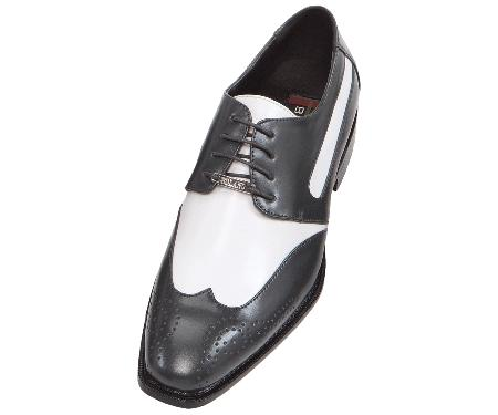 SKU#MMA42 Mens Charcoal Gray-Silver Two Tone Dress Shoe Oxford: Wingtip