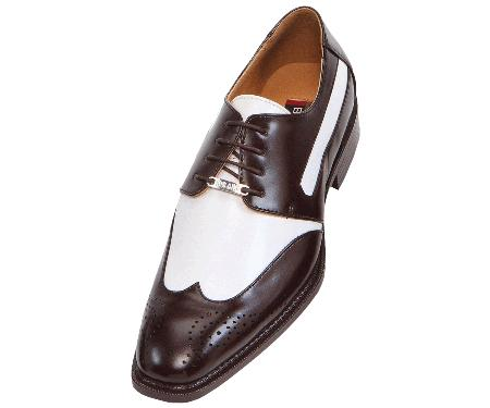1940s Mens Shoes | Gangster, Spectator, Black and White Shoes French Brown and White Mens Two Tone Dress Shoes Oxford Wingtip $99.00 AT vintagedancer.com