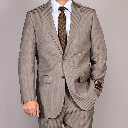 Mens Side Vented Jacket & Flat Front Pants Taupe Striped 2button Suit