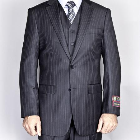 MensUSA.com Mens Side Vented Jacket and Flat Front Pants Black Pinstripe 2 Button Vested Suit(Exchange only policy) at Sears.com