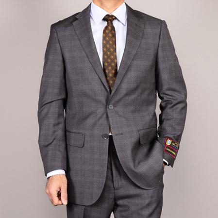 SKU#GRP13 Mens Side Vented Jacket & Flat Front Pants Grey Plaid Two-Button Suit