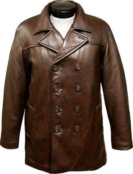 SKU#NNA141 Mens Classic Pea-Coat Brown Leather long trench coat ~ Raincoat ~ Duster $375