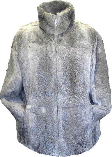 SKU#RAV782 Mens Rabbit Fur Coat Gray $599